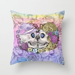 Pastel Rose Sugar Skull Couple Throw Pillow