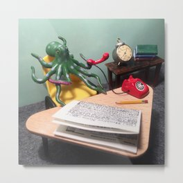The Octopus + the Phone Call Metal Print