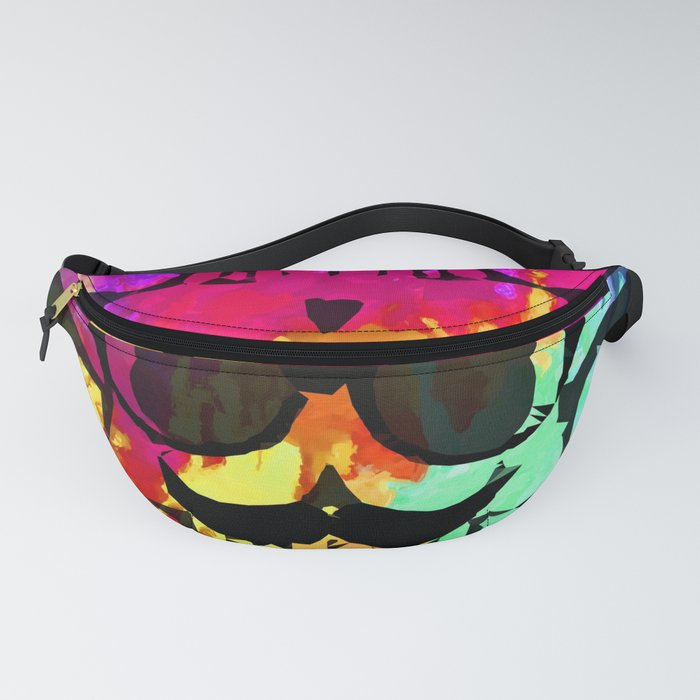 old vintage funny skull art portrait with painting abstract background in red purple yellow green Fanny Pack