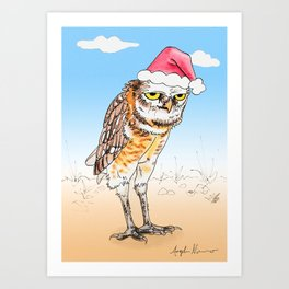 Grumpy Burrowing Owl Santa Art Print