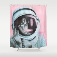1975 Shower Curtains featuring ASTRO BOY // MATTY HEALY by Jethro Lacson