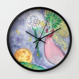 Dandellion - Yellow Summer Flower Fairy Wall Clock