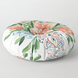 Peachy Florals Floor Pillow