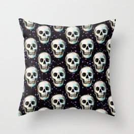 Gothic Skull and Stars Pattern Throw Pillow