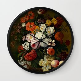 """Philip van Kouwenbergh """"Still life of flowers with roses, peonies, hollyhock, tulips, grapes..."""" Wall Clock"""