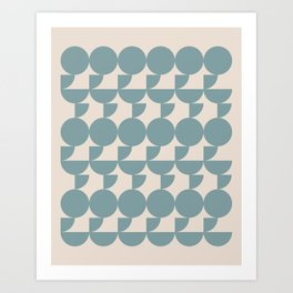 Mid Century Inspired Geometric Shapes in Soft Grey Blue Art Print