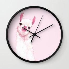 Llama Pink Wall Clock