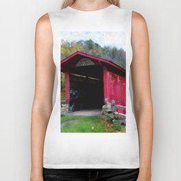 KISSING COVERED BRIDGE Biker Tank