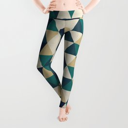Foggy Petrol and Blue - Hipster Geometric Triangle Pattern Leggings