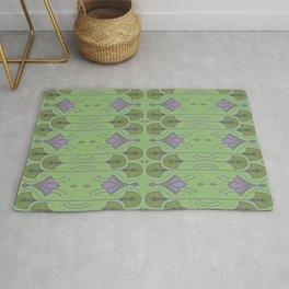 Lily Lake - Green Vintage Botanical Pattern Rug