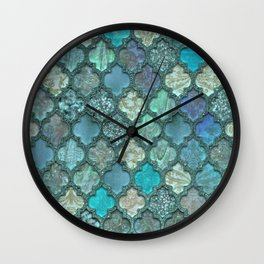 Moroccan Inspired Precious Tile Pattern Wall Clock