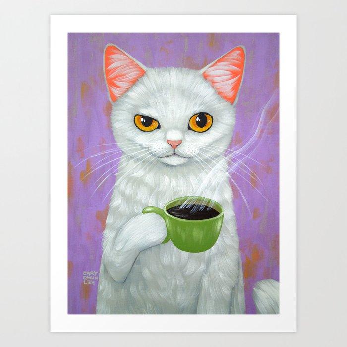 WHITE CAT AND BLACK COFFEE Art Print