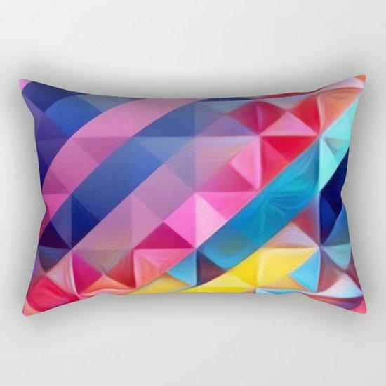Geometric Abstract Rainbow Rectangular Pillow