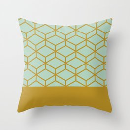 Geometric Honeycomb Lattice Half Pattern in Golden Mustard and Aqua Mint  Throw Pillow