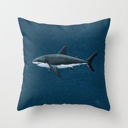 """Carcharodon carcharias"" by Amber Marine  ~ Great White Shark Art, (Copyright 2015) Throw Pillow"