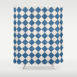 Rustic Checkerboard in Blue and Cream Shower Curtain