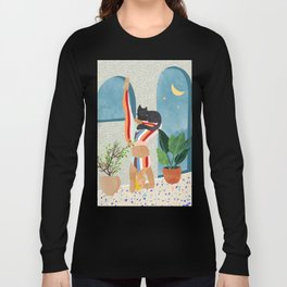Headstand #illustration #yoga #pets Long Sleeve T-shirt