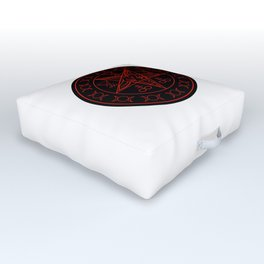Wiccan symbols- Cross of Sulfur, Triple Goddess, Sigil of Baphomet and Lucifer Outdoor Floor Cushion