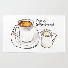 Coffee Break Watercolor and Ink Illustration Rug