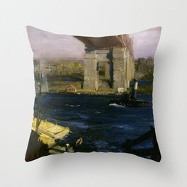 The Bridge, Blackwell's Island by George Bellows Throw Pillow