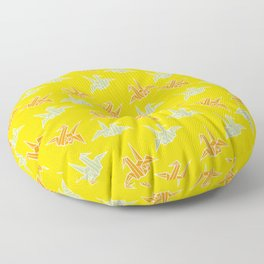 Yellow Origami Crane Japanese Kimono Pattern Floor Pillow