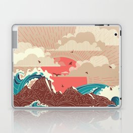 Stylized big waves of ocean or sea at sunset landscape Laptop & iPad Skin