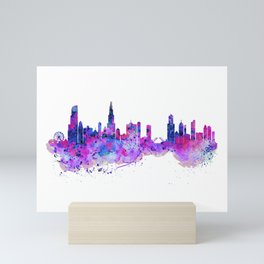 Chicago Watercolor Skyline 2 Mini Art Print