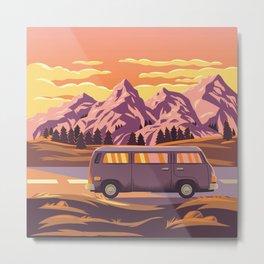 Cruising 101 - Bold and Colorful Traveling Van  Metal Print
