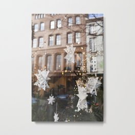Window Reflections  //  Christmas in the City Metal Print