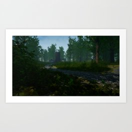Town in forest Art Print