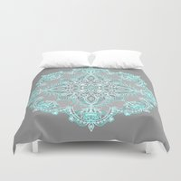 bedding Duvet Covers featuring Teal and Aqua Lace Mandala on Grey by micklyn