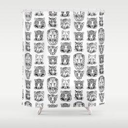 Kickass Kitties - black on white Shower Curtain