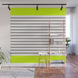 Neon and Grey Stripes Wall Mural