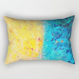 THE DIVIDE - Stunning Bold Colors, Ocean Waves Sun, Modern Beach Chic Theme Abstract Painting Rectangular Pillow