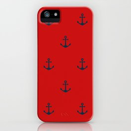 Navy Sailor Anchor Pattern Blue And Red iPhone Case