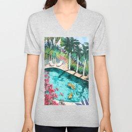 Luxury Tiger Villa illustration, Architecture Travel Nature Painting, Hotel Landscape Garden Unisex V-Neck