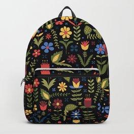 folky floral pattern on black Backpack