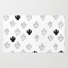 CACTUSES - 3D , black and white Rug