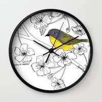 nashville Wall Clocks featuring Nashville Warbler by Art by Peleegirl