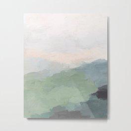 Seafoam Green Mint Black Blush Pink III Abstract Nature Land Art Painting Art Metal Print