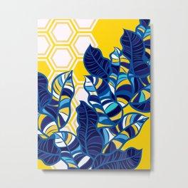 Geo Pop Foliage on Yellow & White Metal Print