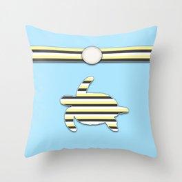Sea Tortoise Blue and Yellow Stripe Pattern Design Throw Pillow