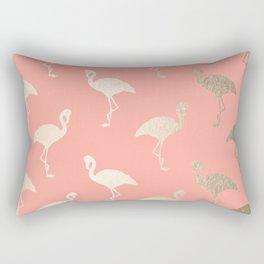Gold Flamingo Pattern Coral Pink Rectangular Pillow