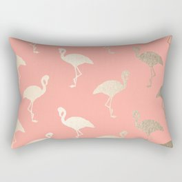 Gold Flamingo Pattern Coral Pink Rectangular Pillow