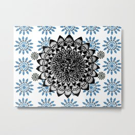 Black Hand-Drawn Mandala on Digital Mandala Textile Metal Print