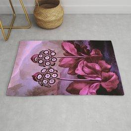 Dark Pink Auriculas : Temple of Flora Art Print Rug