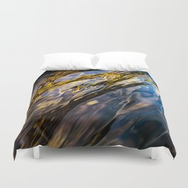 River Ripples in Copper Gold Blue and Brown Duvet Cover