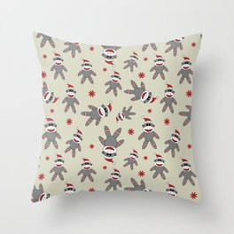 Sock Monkey With Santa Hat Christmas Pattern Throw Pillow