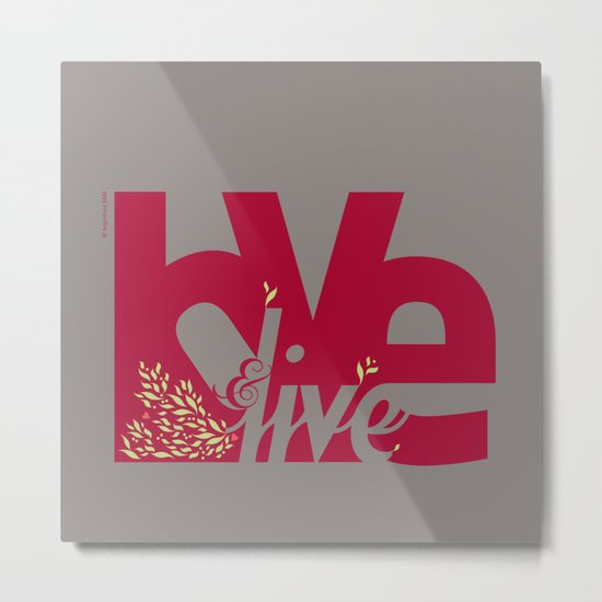 Love & Live (leaves 1) Metal Print
