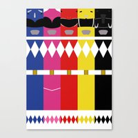 power rangers Canvas Prints featuring Mighty Morphin Power Rangers by Ripple Ripple